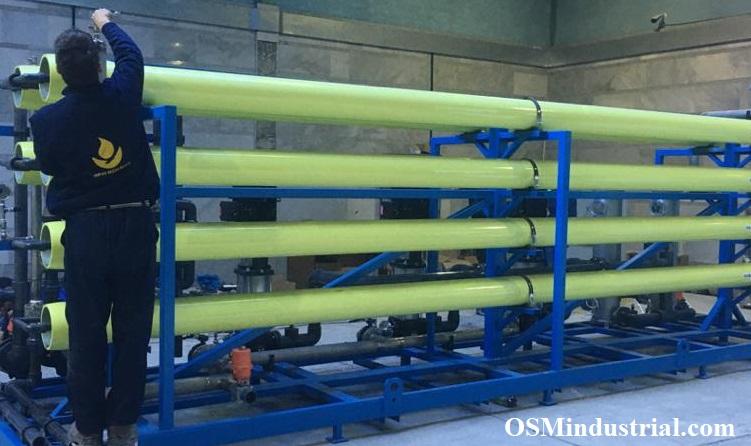 ساخت سیستم اسمز_معکوس RO به ظرفیت 40 متر مکعب در ساعت در محل کارگاه شرکت عمران_سازان_مهاب